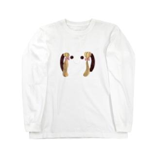 顔文字GIRL:ツインテールリボン Long sleeve T-shirts