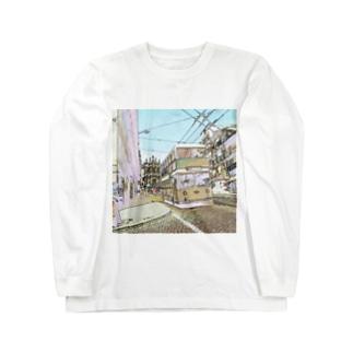CG絵画:ポルトのダブルデッカーバス  Portugal: Double Decker bus in Porto Long sleeve T-shirts