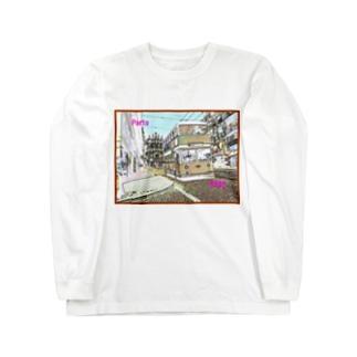 CG絵画:ポルトのダブルデッカーバス CG art: Double Decker bus in Porto Long sleeve T-shirts