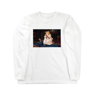 犬のエサ横取り少女 西洋画 Long sleeve T-shirts