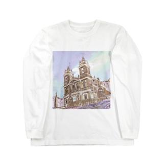 CG絵画:ブラガのボン・ジェズス・ド・モンテ  CG art: Santuário do Bom Jesus do Monte Long sleeve T-shirts