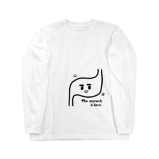 ぷにおもちSHOPのThe stomach is here Long sleeve T-shirts