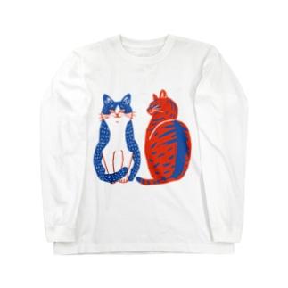 喫茶こぐまやのハチワレさんとキジトラさん Long sleeve T-shirts