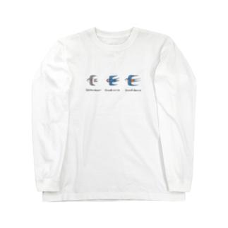 ツバメ3種盛り 学名付き Long sleeve T-shirts