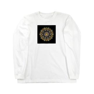 オレンジシャーベット﹣点描曼荼羅 Long sleeve T-shirts