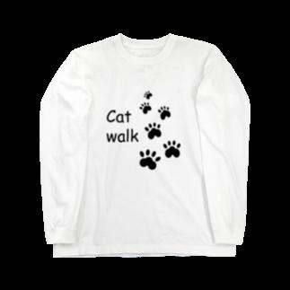 しる猫☆ミ雑貨店のCat walk Long sleeve T-shirts