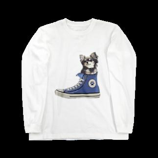 犬グッズの店しえるぶるーのスニーカーにすっぽり入ったチワワ(ブラックタン・青) Long sleeve T-shirts