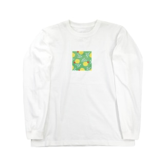 クリームソーダっぽい水玉(真四角) Long sleeve T-shirts