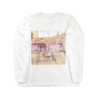 CG絵画:ロバの荷車 CG art: Donkey cargo Long sleeve T-shirts