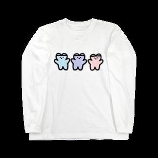 くまくま。ショップのめるへんゆめのかわいい世界 Long sleeve T-shirts