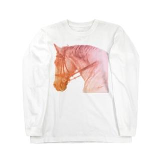 がんばる馬Tシャツ(オレンジ) Long sleeve T-shirts