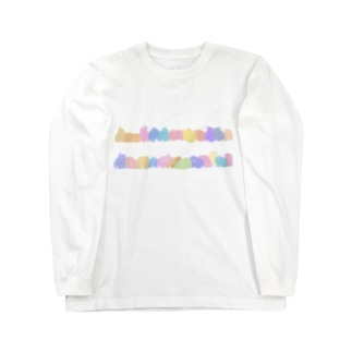 カラフルうさぎロード Long sleeve T-shirts