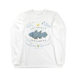 (線/カラー)シーラカンス  Long sleeve T-shirts