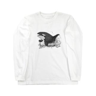ポップアップシャチ Long sleeve T-shirts