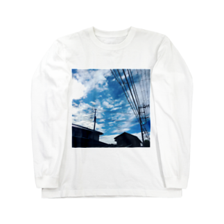 湘南の風景  Seaside landscape at Shonan area in japanの電線のある風景 Long sleeve T-shirts