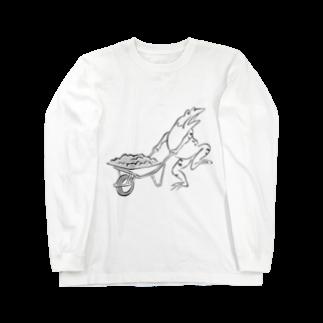 HOUSOの現代版鳥獣戯画 工事現場の蛙 Long sleeve T-shirts