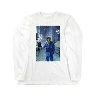 サツマカワRPGが大雪の中歯を磨くTシャツ Long sleeve T-shirts