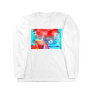 天保山武甲山の朝焼け Long sleeve T-shirts
