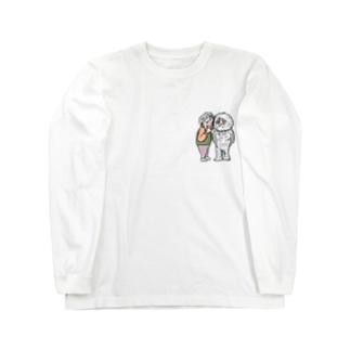 祖母ボソボソ祖父モフモフ Long sleeve T-shirts