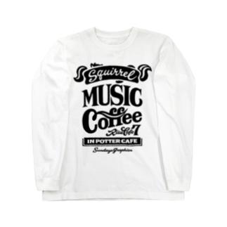 りすカフェ7(黒ロゴ) Long sleeve T-shirts