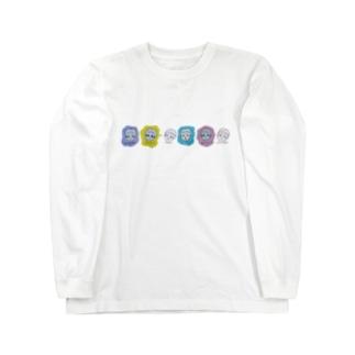 連なる顔 Long sleeve T-shirts
