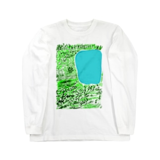 湖と草むら Long sleeve T-shirts