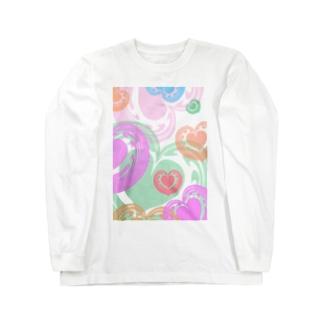 【ラテアート】カラフルハート Long sleeve T-shirts