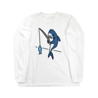 釣りをするサメ Long sleeve T-shirts