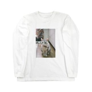 ゆみぴ〜のおすわりするうちのねこん Long sleeve T-shirts