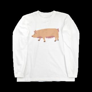 MOBのMO豚(ブタ) Long sleeve T-shirts