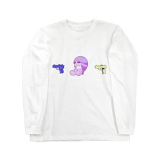 ちっちゃい水鉄砲とゴーグル付きヘルメット Long sleeve T-shirts