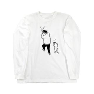 SCOOP スクープ イラスト ヒトとネコ Long sleeve T-shirts