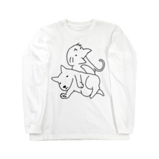 ゆるねこいぬ。 Long sleeve T-shirts