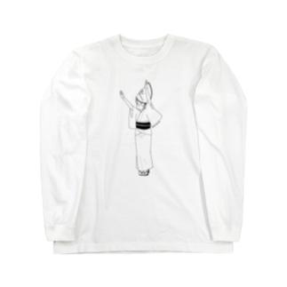 マスクde阿波踊り(黒) ver.full Long sleeve T-shirts