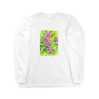 道端の花 ニワゼキショウ(カラフル) Long sleeve T-shirts