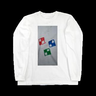 まるあるちのチェックな四角 Long sleeve T-shirts