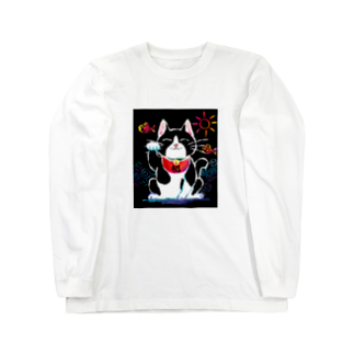 Kitsune honpoの招き猫 Long sleeve T-shirts
