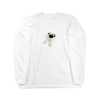 パグのリアルなパグ Long sleeve T-shirts