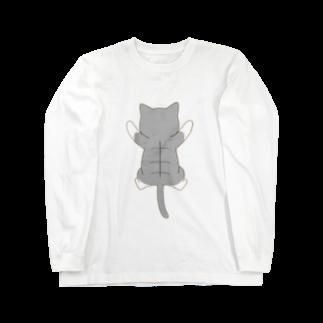 ゆめかわ屋 いそぎんちゃくのしがみつくサバ白猫 Long sleeve T-shirts