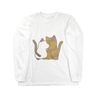 仲良し猫の背中 ポインテッド&サビ Long sleeve T-shirts