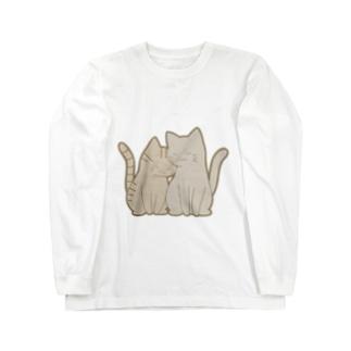 仲良し猫 キジトラ&灰 Long sleeve T-shirts