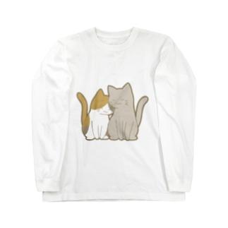 仲良し猫 三毛&灰 Long sleeve T-shirts