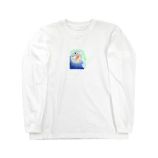 セキセイインコ オパーリン大【まめるりはことり】 Long sleeve T-shirts