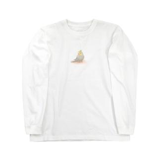 オカメインコ シナモン【まめるりはことり】 Long sleeve T-shirts