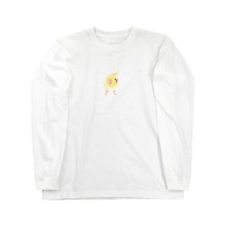オカメインコ おすましルチノー【まめるりはことり】 Long sleeve T-shirts