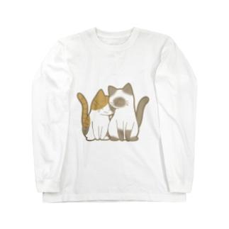 表裏印刷 仲良し猫 縞三毛&ポインテッド Long sleeve T-shirts
