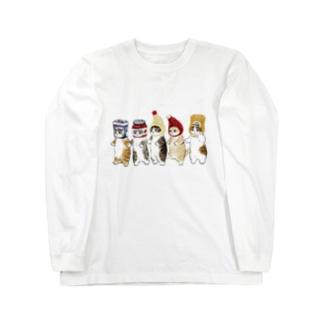 かぶりもの猫 Long sleeve T-shirts