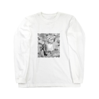 もふもふの猫と水玉 Long sleeve T-shirts