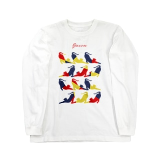 Yawn/あくび猫シルエット Long sleeve T-shirts