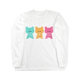3色くまちゃん Long sleeve T-shirts